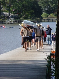 Bringing the boat up from the dock