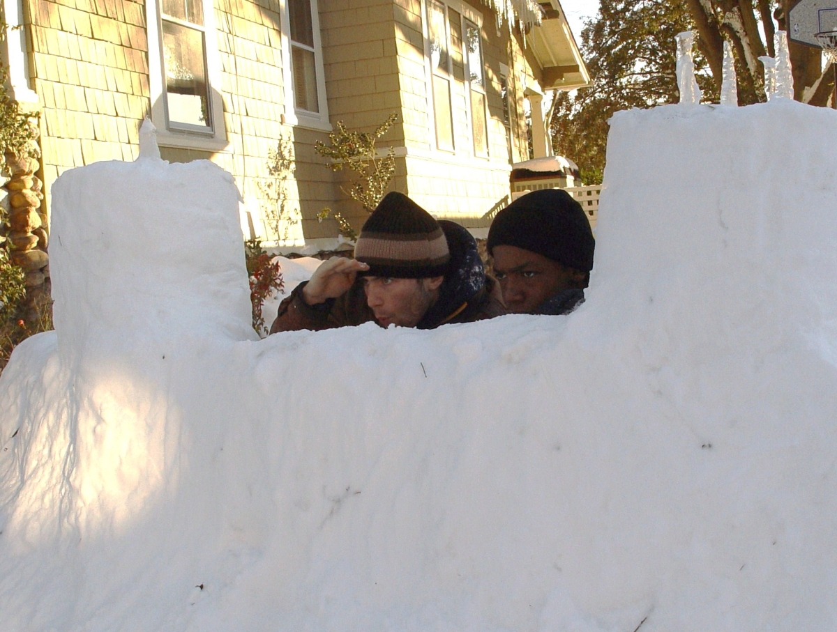The snow fort...