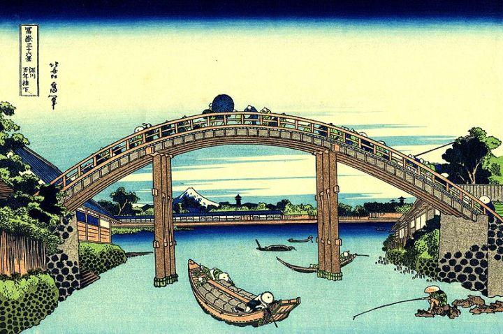 Hokusai Fuji_seen_through_the_Mannen_bridge_at_Fukagawa