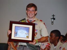 Ian and his framed Eagle Certificate