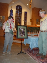 Presenting a beautiful framed photograph of one of our Norfolk Botanical Garden Eagles! That's Mr. Meagher, scout leader extraordinaire on the right.