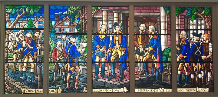 The Karl J. Mueller studio stained glass panels of the General's life, purchased from the estate of Brigadier General Woodrow Abbot USAF.