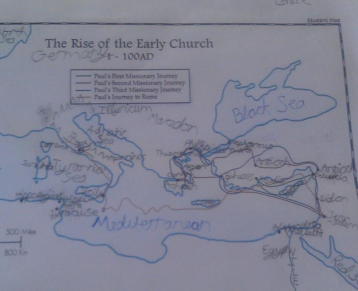 Journeys of Paul Map Trek Map