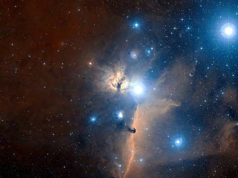 Orion's Belt and the Flame Nebula by Spacefellowship.com ESO and Digitized Sky Survey 2