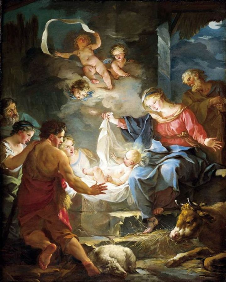 Nativity, Jean Baptiste Marie Pierre, 18th C Oil on Canvas