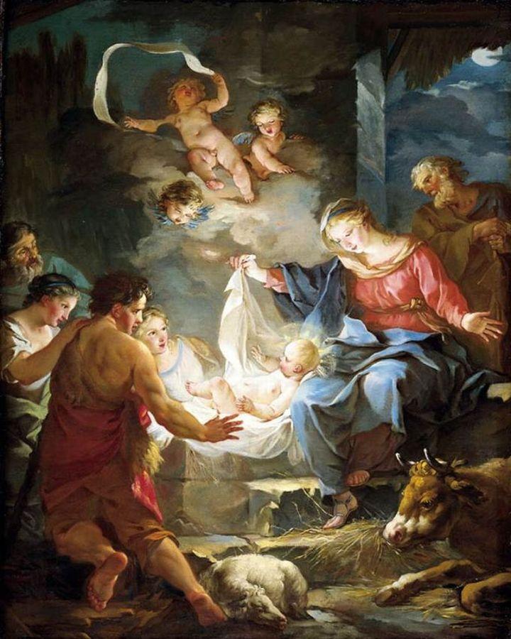Nativity, Jean Baptiste Marie Pierre, 18th C Oil on Canvas