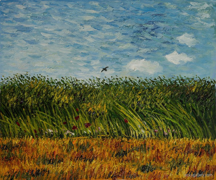 Edge of a Wheat Field with Poppies and a Lark, Vincent Van Gogh, Spring 1887 Private Collection