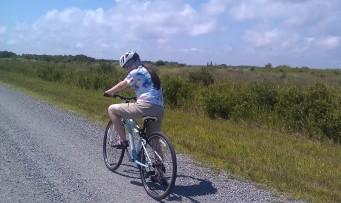 Biking on the West Dike at Back Bay National Wildlife Refuge