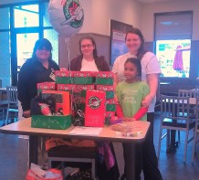 Fill a Shoebox Display at Chick Fil A