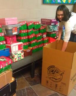 Packing OCC shipping cartons at Green Run Baptist Church.