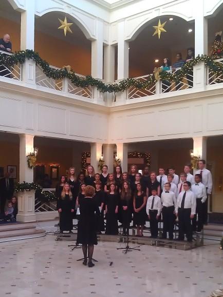 Singing at the Grand Illumination at Founders Inn.
