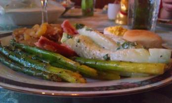 Ham, asparagus, deviled eggs, cucumber salad, German potato salad - a simple Easter dinner