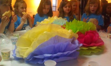 See our pretty tissue paper flowers?