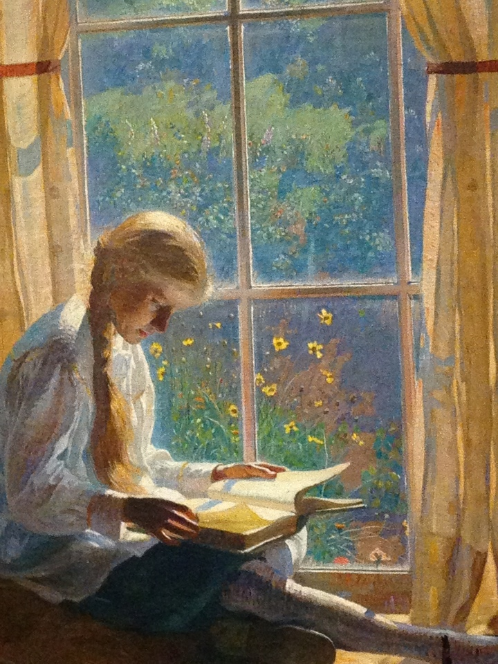 Detail of The Orchard Window by Daniel Garber c1918