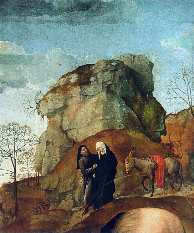Mary and Joseph on the way to Bethlehem,  Hugo van der Goes, Uffizzi Gallery, Florence (Portinari Altarpiece detail)