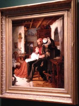 """Home"" Sir Joseph Noel Paton, Scottish c 1855-6, Oil on Panel, Wounded soldier returns home from Crimean War"