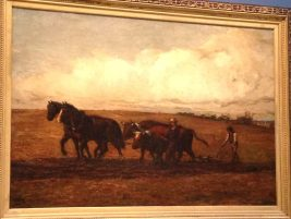 """Plow Horses"" William Morris Hunt, American, 1824-1879, Oil on Canvas"