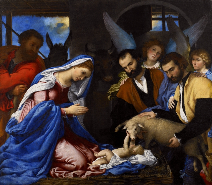Lotto Lorenzo, Adoration of the Shepherds, oil on canvas, c 1534.
