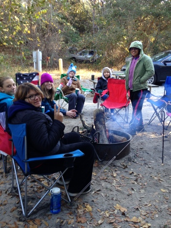 Bundled up around the campfire...