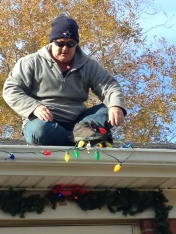 Up on the housetop, Mr. Garner pauses....